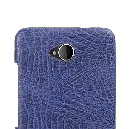 YHUISEN Lumia 650 caso, patrón de piel de cocodrilo clásico de lujo [ultra delgado] cuero de la PU antirayaduras de la PC cubierta protectora de la caja dura para Microsoft Lumia 650 N650 ( Color : Pi Blue