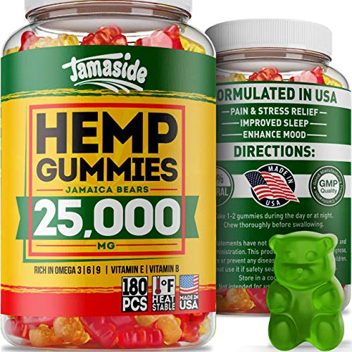 Hemp Gummies 25000 MG, 277 MG per Sweet - Premium Hemp Complex - Made in USA - Delicious Hemp Oil Gummies for Stress & Anxiety Relief - 100% Natural & Safe - Great Immune & Mood Support - Omega 3-6-9