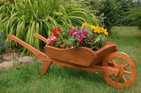 Dekorative massive Schubkarre XXL, behandelt aus Holz, Gartendeko ...