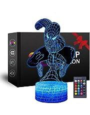 Superheld 3D-nachtlampje, Spiderman speelgoed voor jongens, leuke gadget cadeau-ideeën, party Kerstmis verjaardag bevorderend cadeau voor kinderen, meisjes jongens