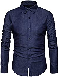 Men's Casual Long Sleeve Lightweight Denim Shirt 100% Cotton Button Down Dress Shirts