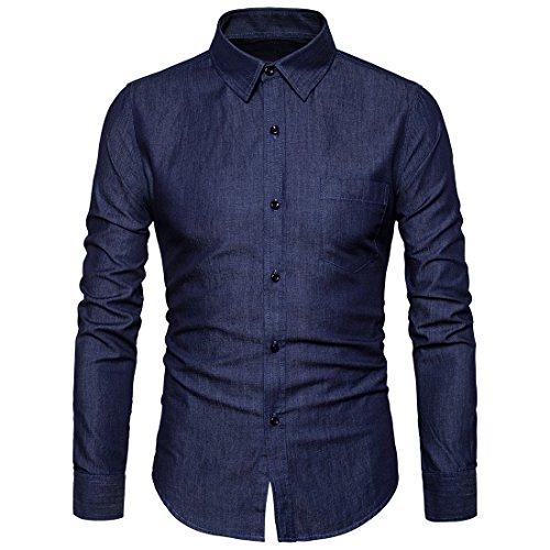 (SIR7 Men's Casual Long Sleeve Lightweight Denim Shirt 100% Cotton Button Down Dress Shirts Dark Blue S)