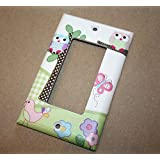 Pink and Purple Owls Girls Bedroom Light Switch Cover LS0044 (Single Decora)
