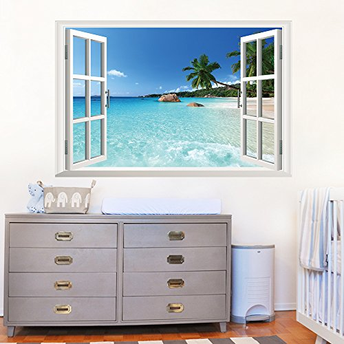 U-Shark 3D Large Removable Sea Beach Vinyl Wall Decal Sticker for Dining Room, Bedroom,Window (SeaView) by U-Shark (Image #2)