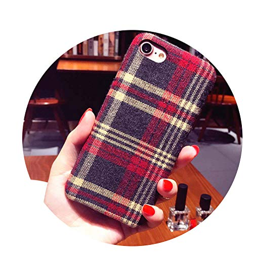 British Style Plush Linen Phone Case for Apple iPhone X 8 7 6 6S Plus Cases Warm,Checkered Red,7 Plus ()