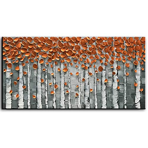 baccow Oil Paintings 2040, 3D Orange Trees Painting On Canvas, Hand Painted Birch Trees Wall Art Metal for Living Room Bedroom Dining Room Office Kitchen Home Decor