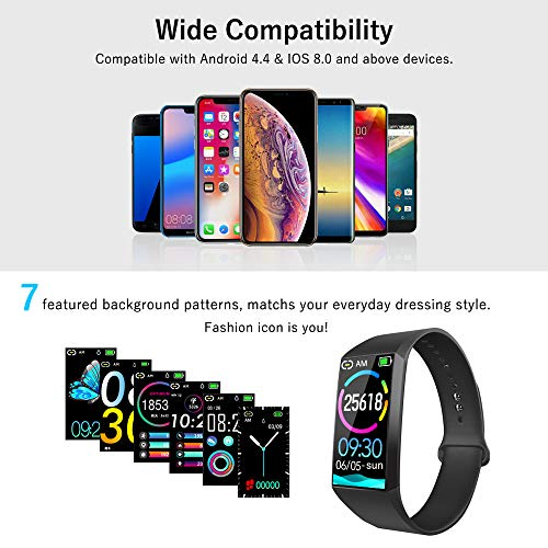 Fitness Tracker Watch, Smart Watch with Heart Rate Monitor Blood Pressure Monitor, IPX7 Waterproof Pedometer Watch with Sleep Monitor Smart Bracelet Watch with Step Counter, Calorie Counter