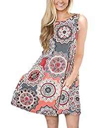 Women's Bohemian Print Tank Dress Pockets Sleeveless T-Shirt Dress