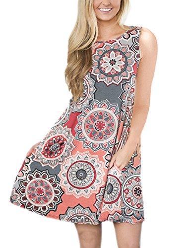 Silvous Sun Dresses for Women Casual Bohemian Floral Print Pockets Loose T-Shirt Dress (Grey S)