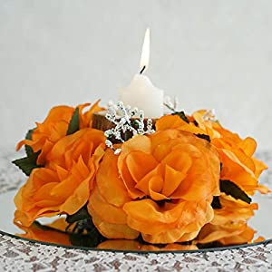Tableclothsfactory 8 pcs Artificial Roses Flowers Candle Rings Wedding Centerpieces - Orange 98