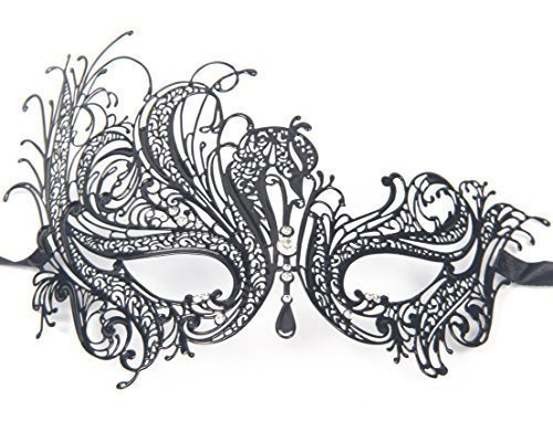 [Signstek Metal Laser Cut Filigree Masquerade Venetian Party Mask, Black/Clear Stones] (Masquerade Masks Metal)