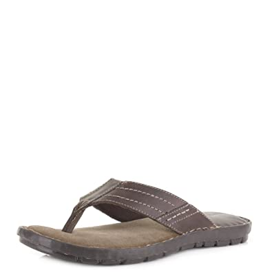 88980a63be69 Shoestore Mens Quality Leather Toe Post Leather Flip Flops Sandals Size 7