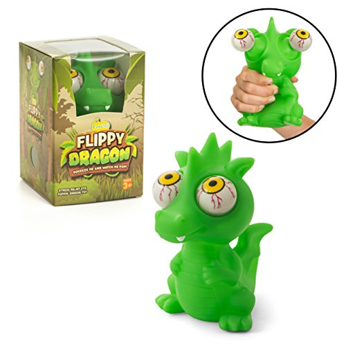 Funky Toys Squishy Eye Popping Dragon By Large Green Eye Popping Squeeze Toy For Stress Reduction | Perfect Dinosaur Gift For Boys & Girls | Great For Those With Autism Or ADHD (Eye Squeeze Ball)