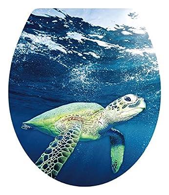 "DNVEN (13""w X 15""h) Sea Turtles Undersea Ocean Under Water Bathroom Toilet Seat Lid Cover Decals Stickers"