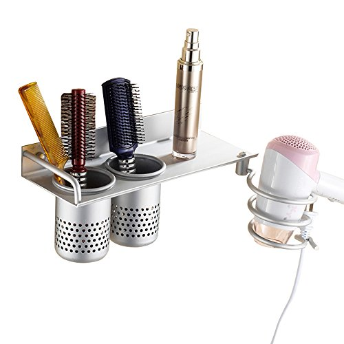 Bathroom Hair Dryer Holder Hair Blow Dryer Holder Organizer Shelf Rack Stand Wall Mounted Hanging Rack with 2 Cups Space Aluminum (Double Cups)