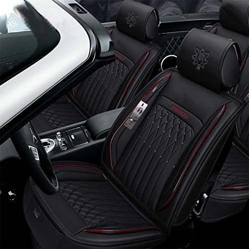 INCH EMPIRE Car Seat Cover Easy to Clean Artificial Leather-Adjustable Car Seat Cushion Fit for Sedan SUV Hatchback Truck Accent Azera Ioniq Kona Sonata Liberty Compass Cherokee(Bling Black Full Set)