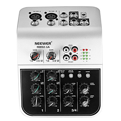 Neewer Mixing Console Compact Audio Sound 2-Channel Mixer for Condenser Microphone, with 48V Phantom Power 2 Band EQ 2-way Stereo Line Input RCA Input/Output 4 Band LED Level Indicator (NW02-1A) (Mic Power Preamp Phantom)
