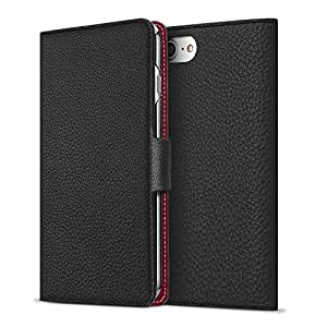BONAVENTURA iPhone 8/7 Leather Wallet Case with Magnet Lock (European Full-Grain PERLINGER Leather) | Buku Flip Cover Case [iPhone 8/7 | Black & Red]