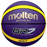 Molten Premium 12 Panel Design Rubber Basketball, Purple/Yellow, Size 7