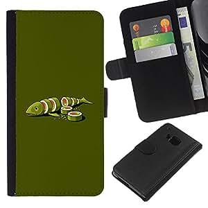 KLONGSHOP // Tirón de la caja Cartera de cuero con ranuras para tarjetas - Fish Art Green Food Maki Arte Minimalista - HTC One M9 //