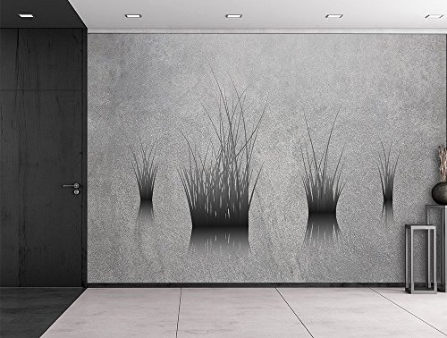 Lone Plants on a Pond on a Grey and Grainy Background Wall Mural