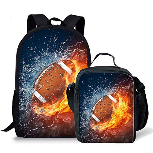 Football Backpack - Fire Football Pattern Kids 2 Pieces Backpack Set School Bookbag + Lunch Bag Lunchbox,