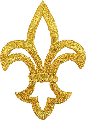 Small Gold Fleur De Lis - Embroidered Iron On or Sew On Patch ()