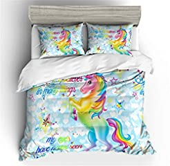Prula Cooper Girl Unicorn Bedding Set Pu...