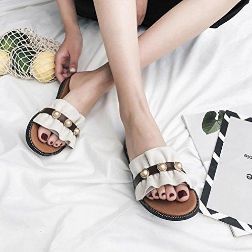 hunpta Women Fashion Solid Color Pearl Flat Heel Flat Bottom Sandals Slipper Beige ZDyAapy