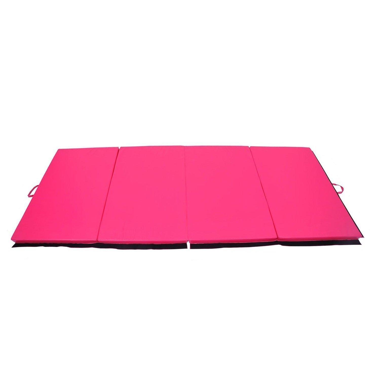 Tenive 4インチ x10インチ x2インチPUレザー体操練習マット タンブルマット ジム 折りたたみパネル 格闘技 フィットネスエクササイズマット 4色選択肢 B016VWYRNQ ピンク