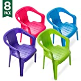 Mindable Stacking Kids Chair Set of 8, 100% Recycled Plastic Seating for Playroom Classroom or Outdoor Table (Assorted Colors)