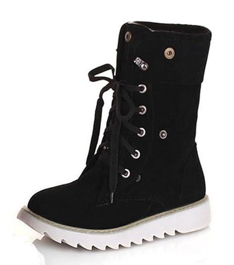 aisun cálido de la Mujer Vestido y Punta Redonda Gruesa Suela Antideslizante Plataforma Lace Up Soporte de Tobillo Botas de Nieve Botines Zapatos: ...