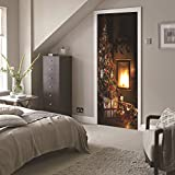LWCX Decorating Sticker Christmas 3D Door To Bedroom Christmas Tree