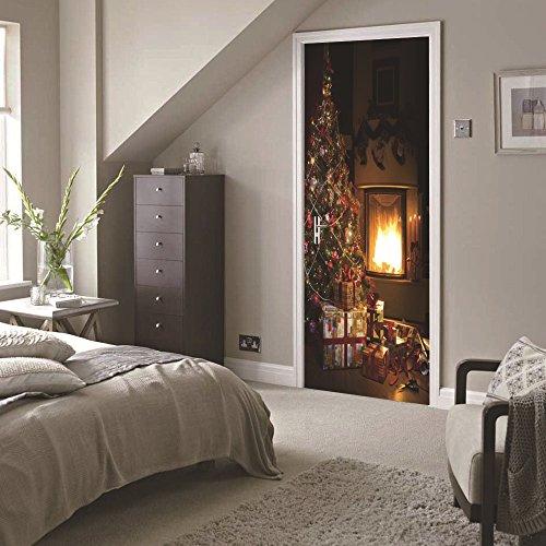 LWCX Decorating Sticker Christmas 3D Door To Bedroom Christmas Tree by LWCX