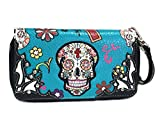 Cowgirl Trendy Matching Sugar Skull Wallet for Sugar Skull Purse Teal