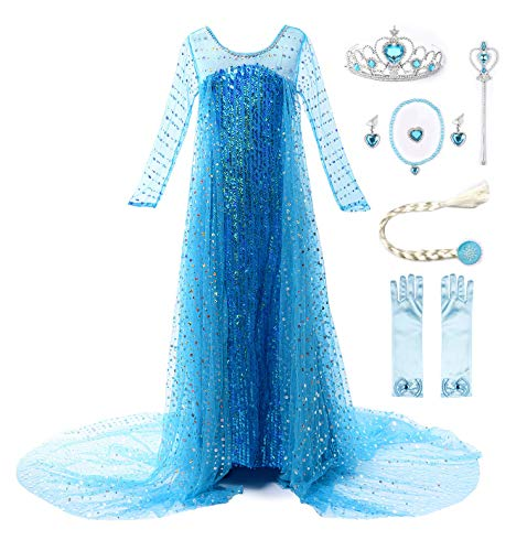 JerrisApparel Girls Princess Elsa Costume Birthday Party Halloween Cosplay Dress up (4T, Blue with Accessories)]()
