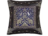NovaHaat Navy Blue and Gold Zari Brocade Silk Blend Sari Decorative Sequin and Bead Work Accent Throw Cushion COVER with Elephant and Peacock Pattern Weave - from Varanasi, India: Size 16 Inch x 16 In