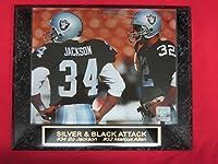 Bo Jackson Marcus Allen Raiders Collector Plaque w/8x10 RARE Photo
