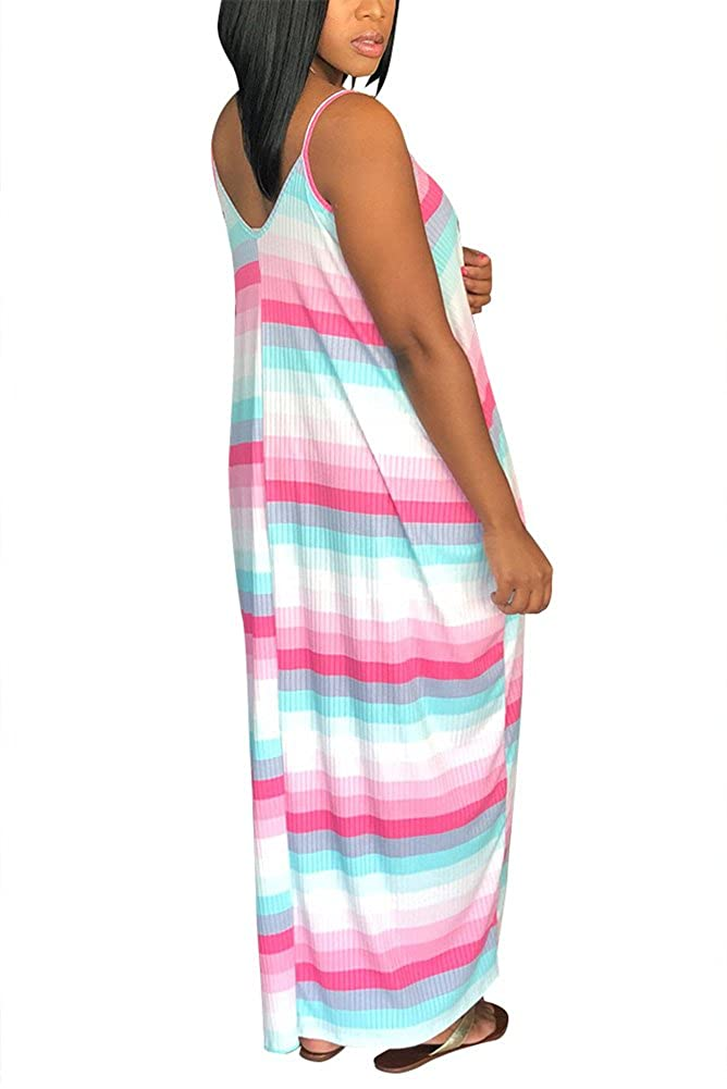 6f549066d63b Aro Lora Women's Colorful Stripes Spaghetti Strap V Neck Loose Long Maxi  Dress with Pockets at Amazon Women's Clothing store: