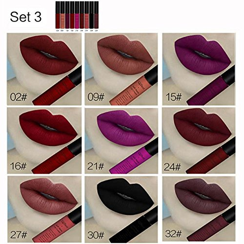 Lipstick, Cocohot 9 pcs/set Matte Lip Gloss Waterproof Long Lasting Makeup Set Christmas Lipgloss Set with Card (A3) (Lipstick Gloss 7ml Lip)