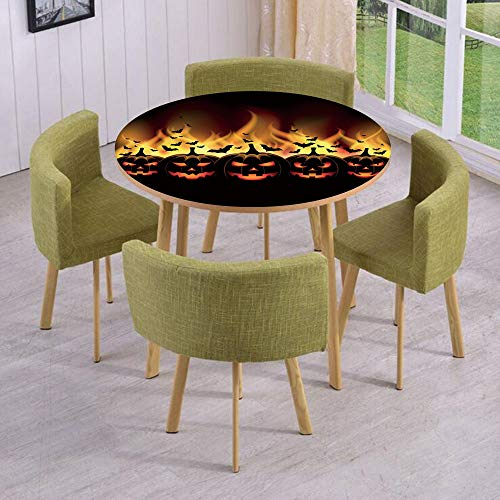 iPrint Round Table/Wall/Floor Decal Strikers,Removable,Happy Halloween Image with Jack o Lanterns on Fire with Bats Holiday Decorative,for Living Room,Kitchens,Office -