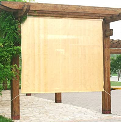 Easy2Hang 8x6ft wheat Alternative solution for Roller Shade,Exterior Privacy Side Shade Panel for Pergola, Patio, Window by Easy2hang