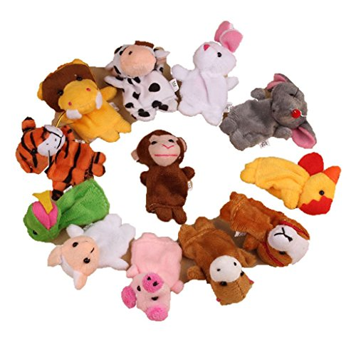 Usstore 12Pcs Chinese Zodiac Soft Animal Puppet Finger Toys PLush For Kid Baby Child Christmas Gift Toy Gift