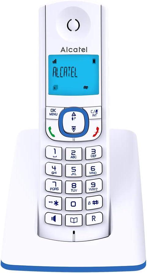 Alcatel F530 - Teléfono (Teléfono DECT, Terminal con conexión por Cable, Altavoz, 50 entradas, Identificador de Llamadas, Azul, Blanco): Amazon.es: Electrónica