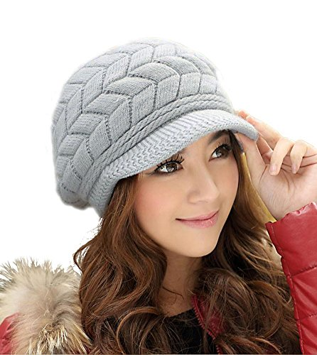 - HINDAWI Winter Hats for Women Girls Warm Wool Knit Snow Ski Skull Cap with Visor (Grey)