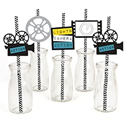 Movie Paper Straw Decor - Hollywood Party Striped Decorative Straws - Set of 24