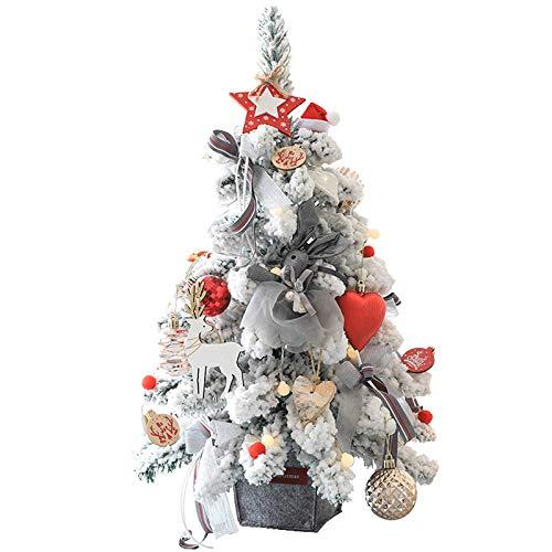 Z·Bling Árbol de Navidad de Mesa de 60cm con Blanco Nevado,Mini árbol de Pino de Navidad Artificial con Luces de Cadena LED y Adornos (Árbol de Navidad): Amazon.es: Hogar