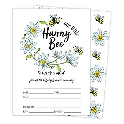 Bee 3 Bumble Bee Baby Shower Invitations Invite Cards (25 Count) With Envelopes and Seal Stickers Vinyl Girl Boy (25ct Baby) -