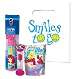 The Little Mermiad Ariel 3pc Bright Smile Oral Hygiene Bundle! Turbo Powered Toothbrush, Brushing Timer & Mouthwash Rinse Cup! Plus Dental Gift & Remember to Brush Visual Aid!