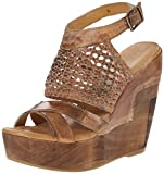 Bed Stu Women's Petra Wedge Sandal, Tan Rustic White, 8 M US